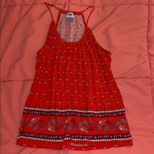Red patterned Tang Top